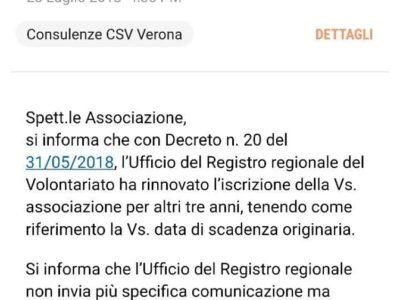 Rinnovo iscrizione registro regionale volontariato